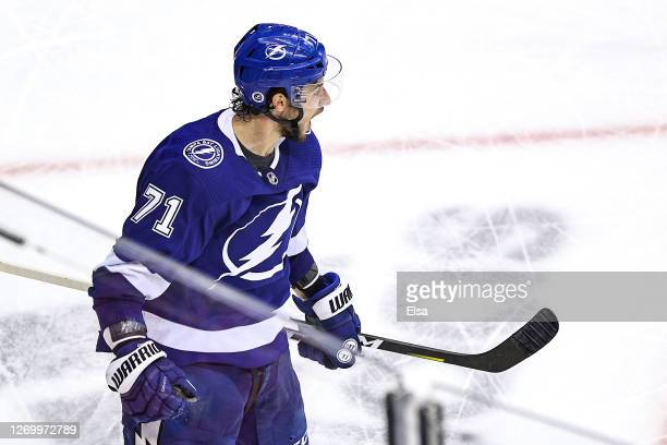 Anthony Cirelli of the Tampa Bay Lightning celebrates after scoring a goal against the Boston Bruins during the third period in Game Five of the...