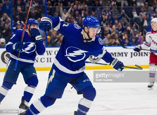 Anthony Cirelli of the Tampa Bay Lightning celebrates his goal against the New York Rangers during the third period at Amalie Arena on December 10...