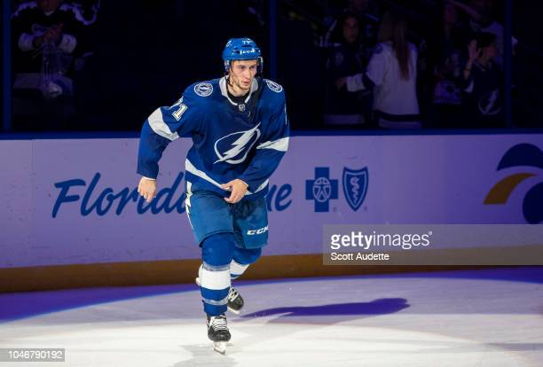 Anthony Cirelli of the Tampa Bay Lightning celebrates the win against the Florida Panthers at Amalie Arena on October 6 2018 in Tampa Florida