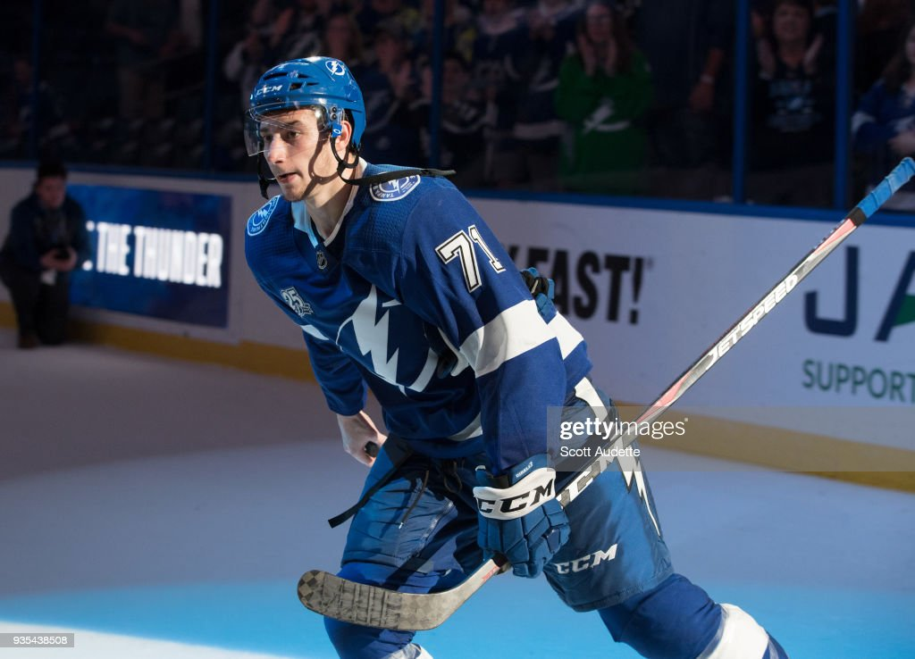 Anthony Cirelli #71 of the Tampa Bay Lightning celebrates the win against the Toronto Maple Leafs at Amalie Arena on March 20, 2018 in Tampa, Florida.