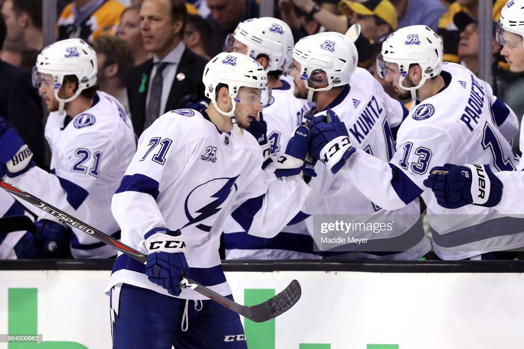 Anthony Cirelli #71 of the Tampa Bay Lightning celebrates with teammates after scoring against the Boston Bruins during the first period Game Three of the Eastern Conference Second Round during the 2018 NHL Stanley Cup Playoffs at TD Garden on May 2, 2018 in Boston, Massachusetts.