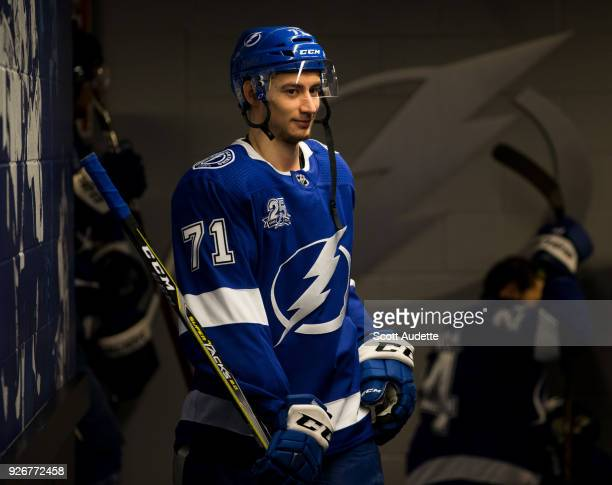 Anthony Cirelli of the Tampa Bay Lightning gets ready for the game against the Philadelphia Flyers at Amalie Arena on March 3 2018 in Tampa Florida