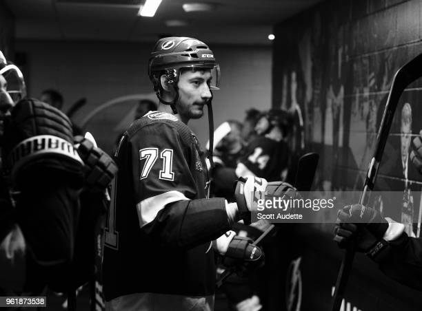 Anthony Cirelli of the Tampa Bay Lightning gets ready for the game against the Washington Capitals during Game Seven of the Eastern Conference Final...