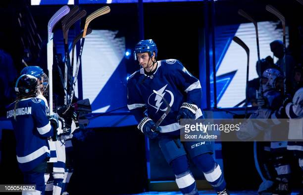 Anthony Cirelli of the Tampa Bay Lightning is introduced before the home opener against the Florida Panthers at Amalie Arena on October 6 2018 in...