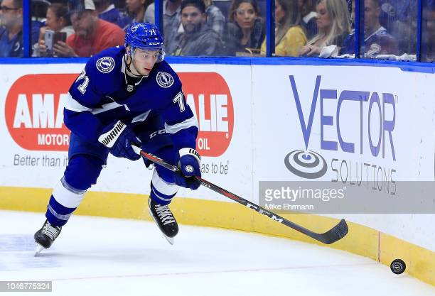Anthony Cirelli of the Tampa Bay Lightning looks to shoot during Opening Night against the Florida Panthers at Amalie Arena on October 6 2018 in...
