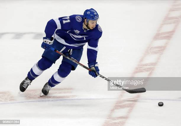 Anthony Cirelli of the Tampa Bay Lightning moves the puck up against the Washington Capitals during the first period in Game Two of the Eastern...