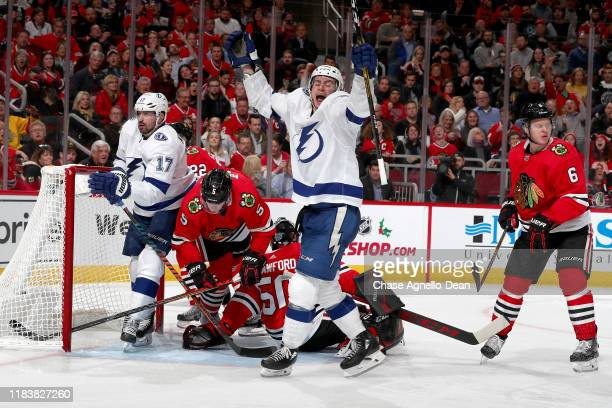 Anthony Cirelli of the Tampa Bay Lightning reacts after scoring on goalie Corey Crawford of the Chicago Blackhawks in the third period at the United...