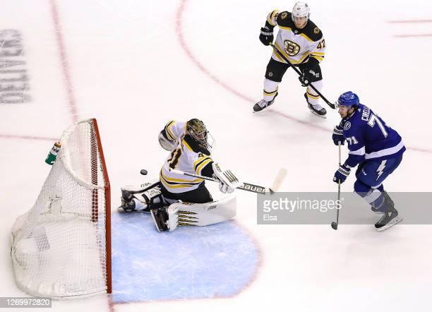 Anthony Cirelli of the Tampa Bay Lightning scores a goal past Jaroslav Halak of the Boston Bruins during the third period in Game Five of the Eastern...