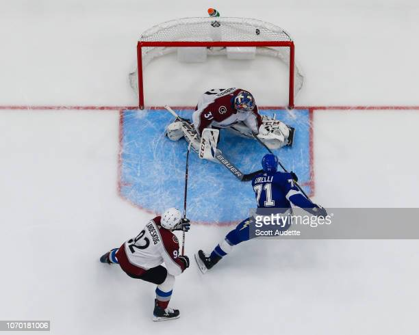 Anthony Cirelli of the Tampa Bay Lightning shoots the puck for a goal against goalie Philipp Grubauer of the Colorado Avalanche during the third...