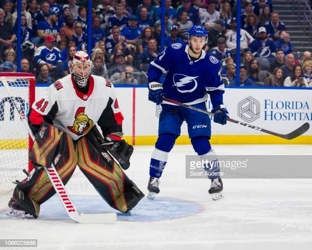 Anthony Cirelli of the Tampa Bay Lightning skates against Craig Anderson of the Ottawa Senators at Amalie Arena on November 10 2018 in Tampa Florida...