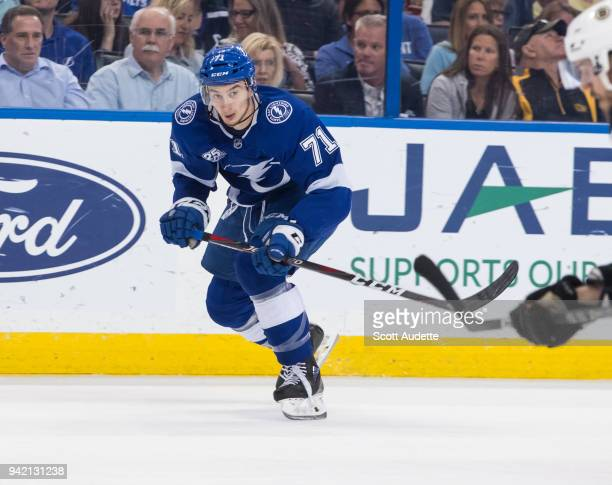 Anthony Cirelli of the Tampa Bay Lightning skates against the Boston Bruins during the first period at Amalie Arena on April 3 2018 in Tampa Florida...