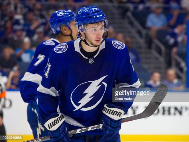 Anthony Cirelli of the Tampa Bay Lightning skates against the Florida Panthers during overtime at Amalie Arena on October 6 2018 in Tampa Florida 'n