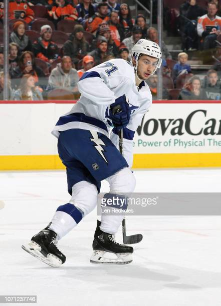 Anthony Cirelli of the Tampa Bay Lightning skates against the Philadelphia Flyers on November 17 2018 at the Wells Fargo Center in Philadelphia...