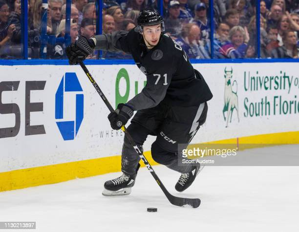 Anthony Cirelli of the Tampa Bay Lightning skates against the Montreal Canadiens in the second period at Amalie Arena on February 16 2019 in Tampa...