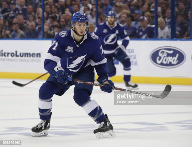 Anthony Cirelli of the Tampa Bay Lightning skates against the Washington Capitals in Game Two of the Eastern Conference Finals during the 2018 NHL...