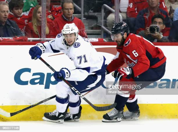 Anthony Cirelli of the Tampa Bay Lightning skates against the Washington Capitals in Game Four of the Eastern Conference Finals during the 2018 NHL...