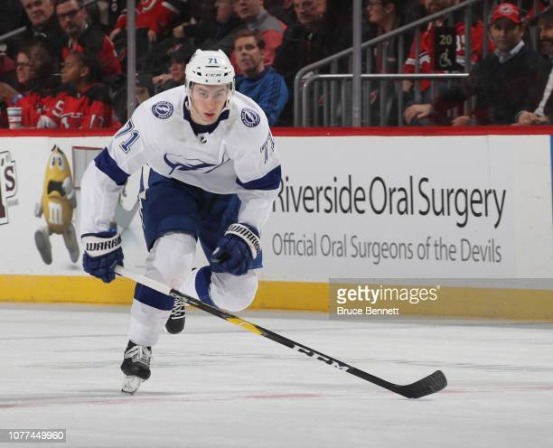 Anthony Cirelli of the Tampa Bay Lightning skates against the New Jersey Devils at the Prudential Center on December 03 2018 in Newark New Jersey The...