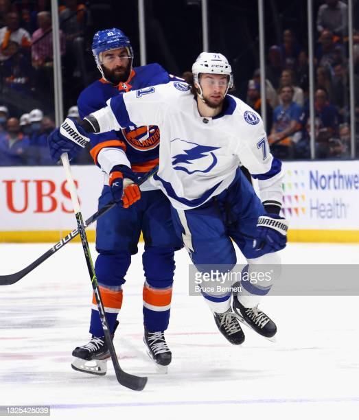 Anthony Cirelli of the Tampa Bay Lightning skates against the New York Islanders in Game Six of the NHL Stanley Cup Semifinals during the 2021 NHL...