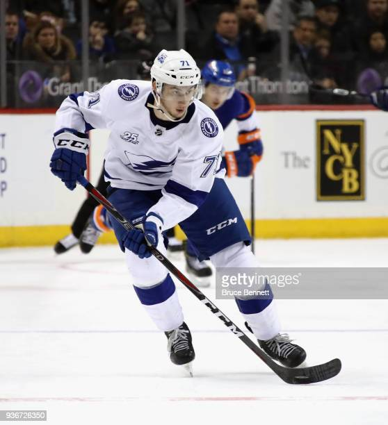 Anthony Cirelli of the Tampa Bay Lightning skates against the New York Islanders at the Barclays Center on March 22 2018 in the Brooklyn borough of...