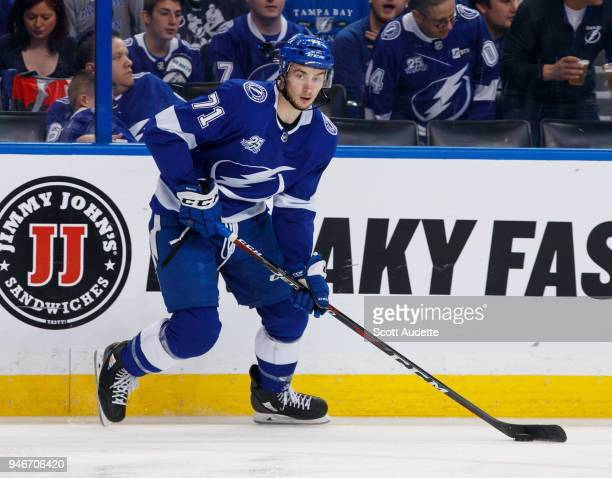 Anthony Cirelli of the Tampa Bay Lightning skates against the New Jersey Devils in Game Two of the Eastern Conference First Round during the 2018 NHL...