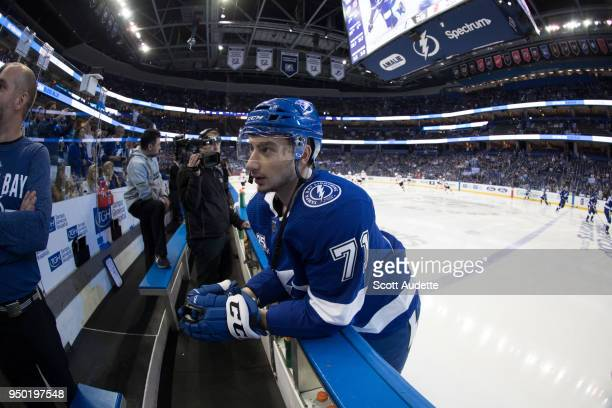 Anthony Cirelli of the Tampa Bay Lightning skates against the New Jersey Devils in Game Five of the Eastern Conference First Round during the 2018...