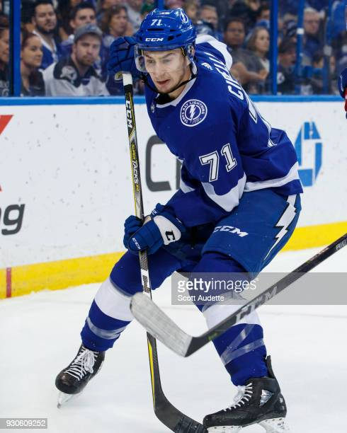 Anthony Cirelli of the Tampa Bay Lightning skates against the Montreal Canadiens during the first period at Amalie Arena on March 10 2018 in Tampa...