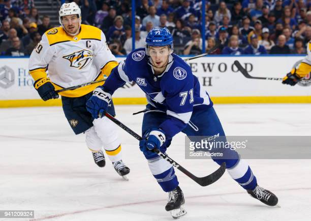 Anthony Cirelli of the Tampa Bay Lightning skates against the Nashville Predators during the third period at Amalie Arena on April 1 2018 in Tampa...