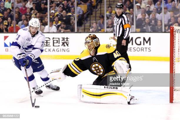 Anthony Cirelli of the Tampa Bay Lightning takes a shot against Tuukka Rask of the Boston Bruins during the second period of Game Three of the...
