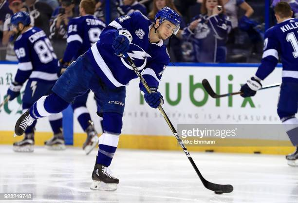 Anthony Cirelli of the Tampa Bay Lightning warms up during a game against the Florida Panthers at Amalie Arena on March 6 2018 in Tampa Florida