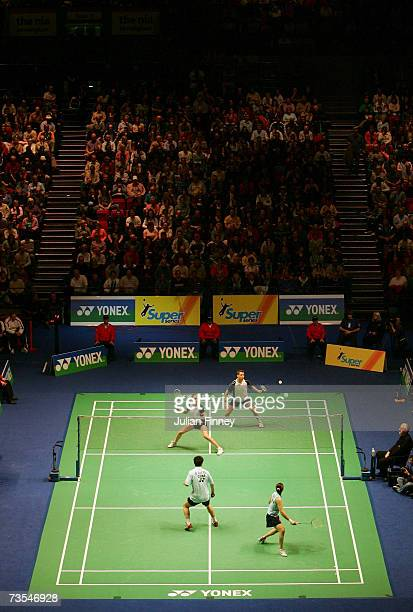 Anthony Clark and Donna Kellogg of England in action against Zheng Bo and Gao Ling of China in the Mixed Doubles final during the Yonex All England...