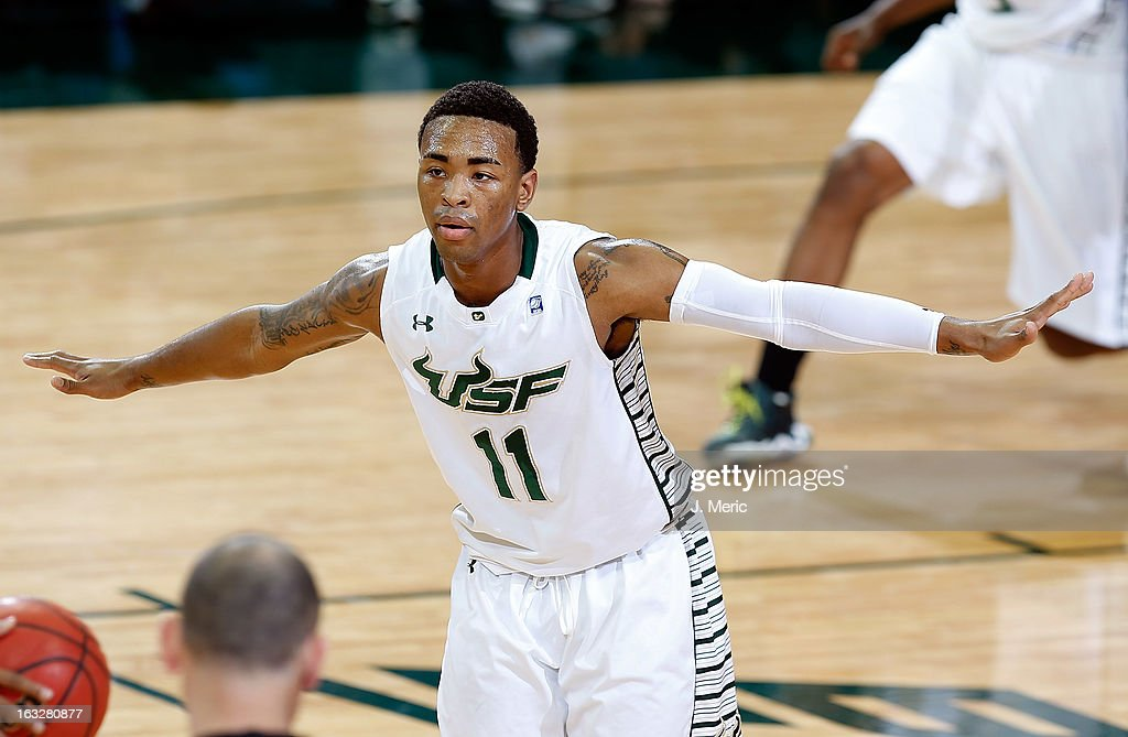 Anthony Collins #11 of the South Florida Bulls defends against the Connecticut Huskies during the game at the Sun Dome on March 6, 2013 in Tampa, Florida.