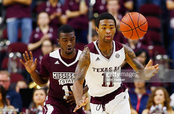 Anthony Collins of the Texas AM Aggies battles for the basketball with IJ Ready of the Mississippi State Bulldogs at Reed Arena on February 24 2016...