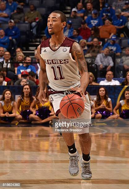 Anthony Collins of the Texas AM Aggies plays against the LSU Tigers in an SEC Basketball Tournament Semifinals game at Bridgestone Arena on March 12...