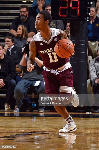 Anthony Collins of the Texas AM Aggies plays against the Vanderbilt Commodores at Memorial Gym on February 4 2016 in Nashville Tennessee