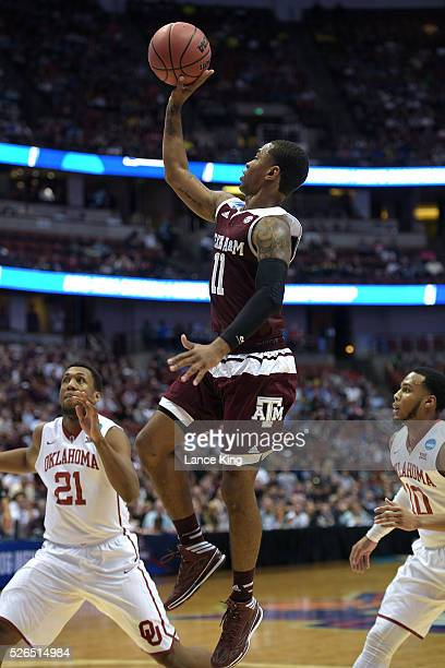 Anthony Collins of the Texas AM Aggies puts up a shot against the Oklahoma Sooners during the West Regional Semifinal of the 2016 NCAA Men's...