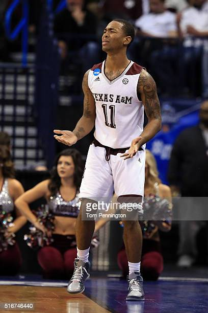 Anthony Collins of the Texas AM Aggies reacts in the first half against the Northern Iowa Panthers during the second round of the 2016 NCAA Men's...