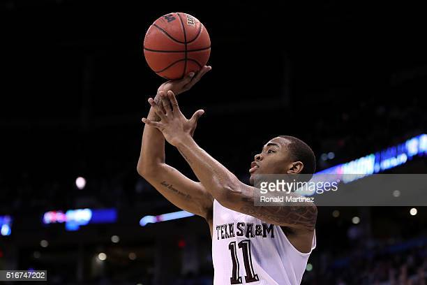 Anthony Collins of the Texas AM Aggies shoots the ball in the second half against the Northern Iowa Panthers during the second round of the 2016 NCAA...