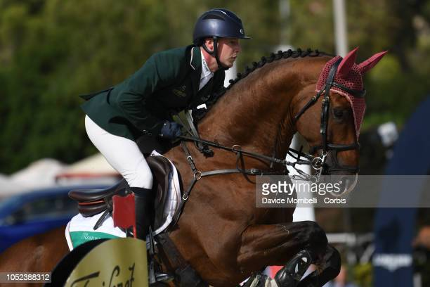 Anthony Condon of Ireland riding Aristio during Longines FEI Jumping Nations Cup Final Competition on October 7 2018 in Barcelona Spain