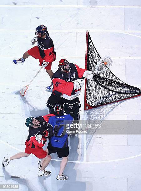 Anthony Cosmo playing for East defends the goals during the National Lacrosse League All Star Series at Hisense Arena on October 23, 2009 in...