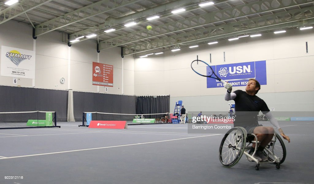 Anthony Cotterill in action during the 2018 Bolton Indoor Wheelchair Tennis Tournament at Bolton Arena on February 21, 2018 in Bolton, England.