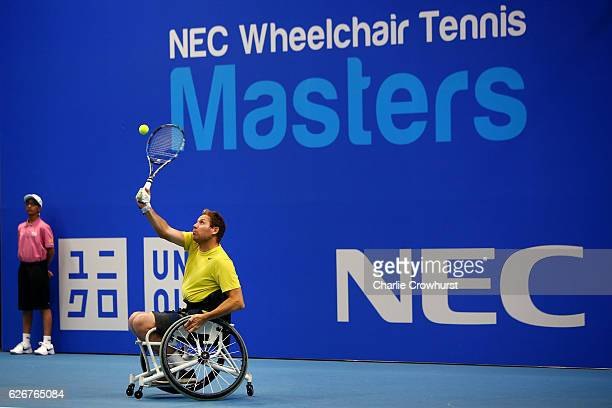 Anthony Cotterill of Great Britain in action during his quads singles match against Andy Lapthorne of Great Britain on Day 1 of NEC Wheelchair Tennis...