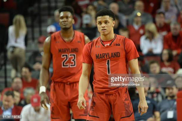 Anthony Cowan Jr #1 of the Maryland Terrapins and Bruno Fernando defend against the Nebraska Cornhuskers at Pinnacle Bank Arena on February 6 2019 in...