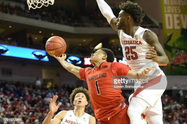 Anthony Cowan Jr #1 of the Maryland Terrapins attempts a shot against Nana Akenten of the Nebraska Cornhuskers and Isaiah Roby at Pinnacle Bank Arena...