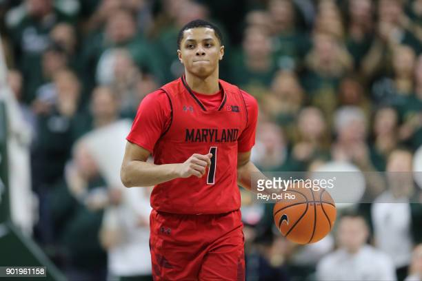 Anthony Cowan Jr #1 of the Maryland Terrapins brings the ball up court during the game against the Michigan State Spartans at Breslin Center on...