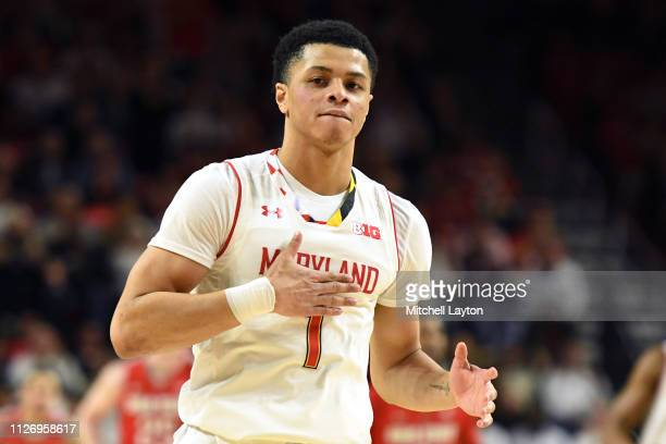 Anthony Cowan Jr #1 of the Maryland Terrapins celebrates a shot in the second half during a college basketball game against the Ohio State Buckeyes...