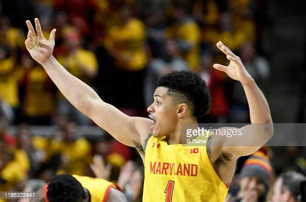 Anthony Cowan Jr #1 of the Maryland Terrapins celebrates after a victory against the Illinois Fighting Illini at Xfinity Center on December 7 2019 in...