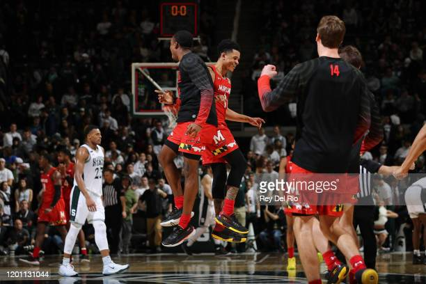 Anthony Cowan Jr #1 of the Maryland Terrapins celebrates after the game against the Michigan State Spartans at the Breslin Center on February 15 2020...