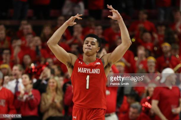 Anthony Cowan Jr #1 of the Maryland Terrapins celebrates against the Iowa Hawkeyes during the second half at Xfinity Center on January 30 2020 in...