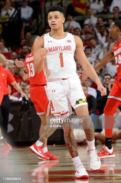 Anthony Cowan Jr #1 of the Maryland Terrapins celebrates during the game against the Ohio State Buckeyes at Xfinity Center on January 7 2020 in...
