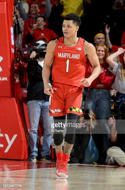 Anthony Cowan Jr #1 of the Maryland Terrapins celebrates during the game against the Iowa Hawkeyes at Xfinity Center on January 30 2020 in College...